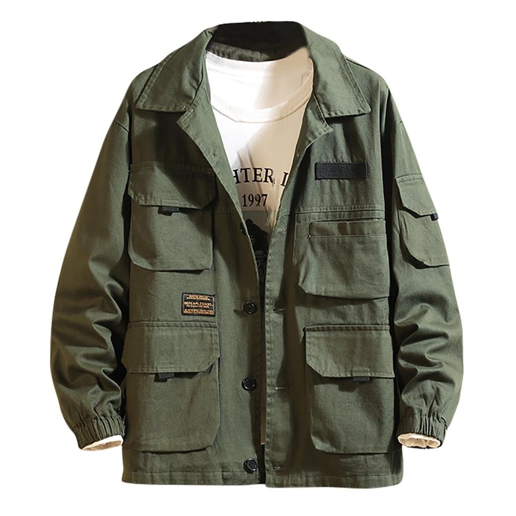 Мужская ветровка с лацканами, однотонная куртка бомбер с множеством карманов, в японском стиле Куртки      АлиЭкспресс