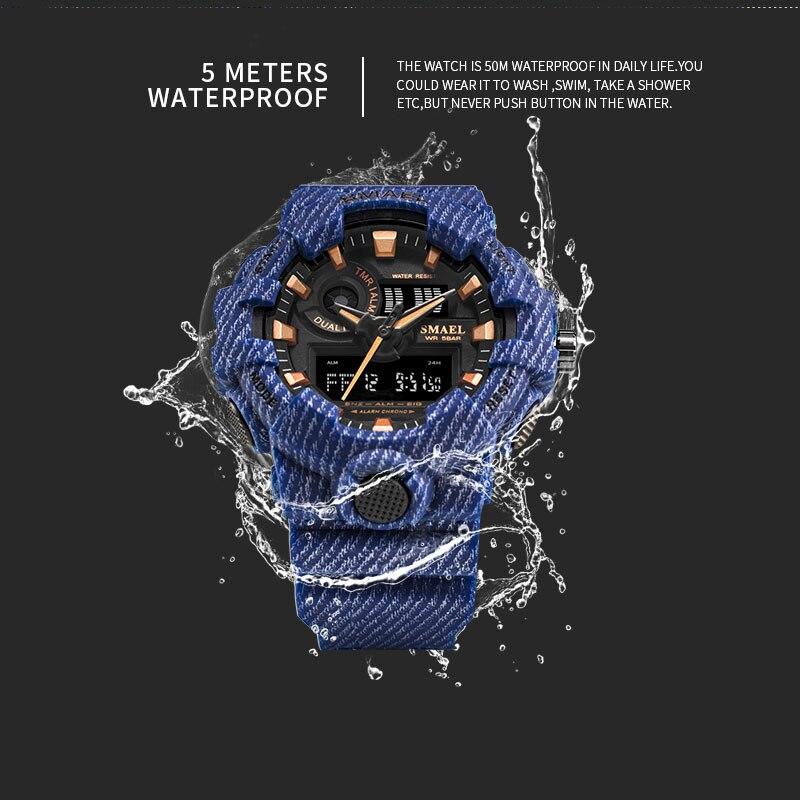 Мужские спортивные наручные часы SPOVAN, спортивные часы из натуральной кожи с компасом/Pacer/водонепроницаемой светодиодной подсветкой - 5