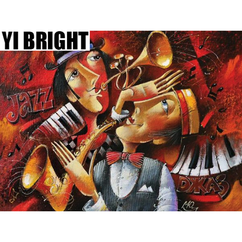 YI BRIGHT DIY 3D Diamond Embroidery,Cross Stitch,Abstract Jazz Music Mural,Full Square&Round Diamond Painting,Home Decor,GT
