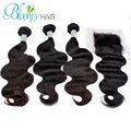 Grade 7A Unprocessed Peruvian Virgin Hair With Closure, 3Pcs Peruvian Body Wave With Closure,100% Human Hair
