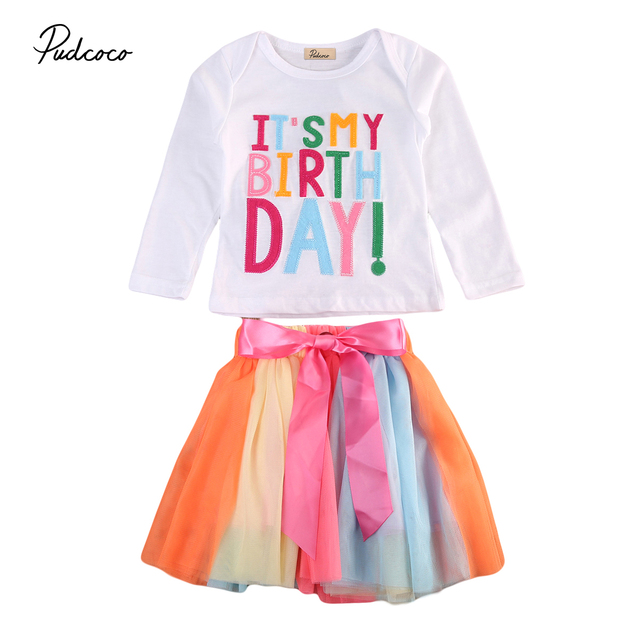 a8bedb093 Pudcoco Baby Girls Princess Cute Long Sleeve T-shirt Tops + Tulle Tutu Skirts  Outfit Kids Toddler Birthday Clothes