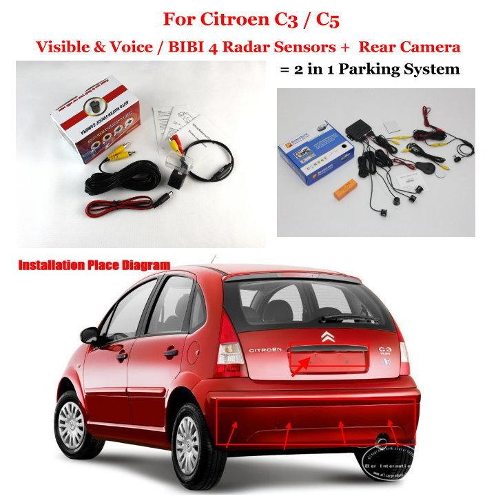 Liislee pour citroën C3/C5/Peugeot 206 207 306 307 308-capteurs de stationnement + caméra de recul = système de stationnement 2 en 1