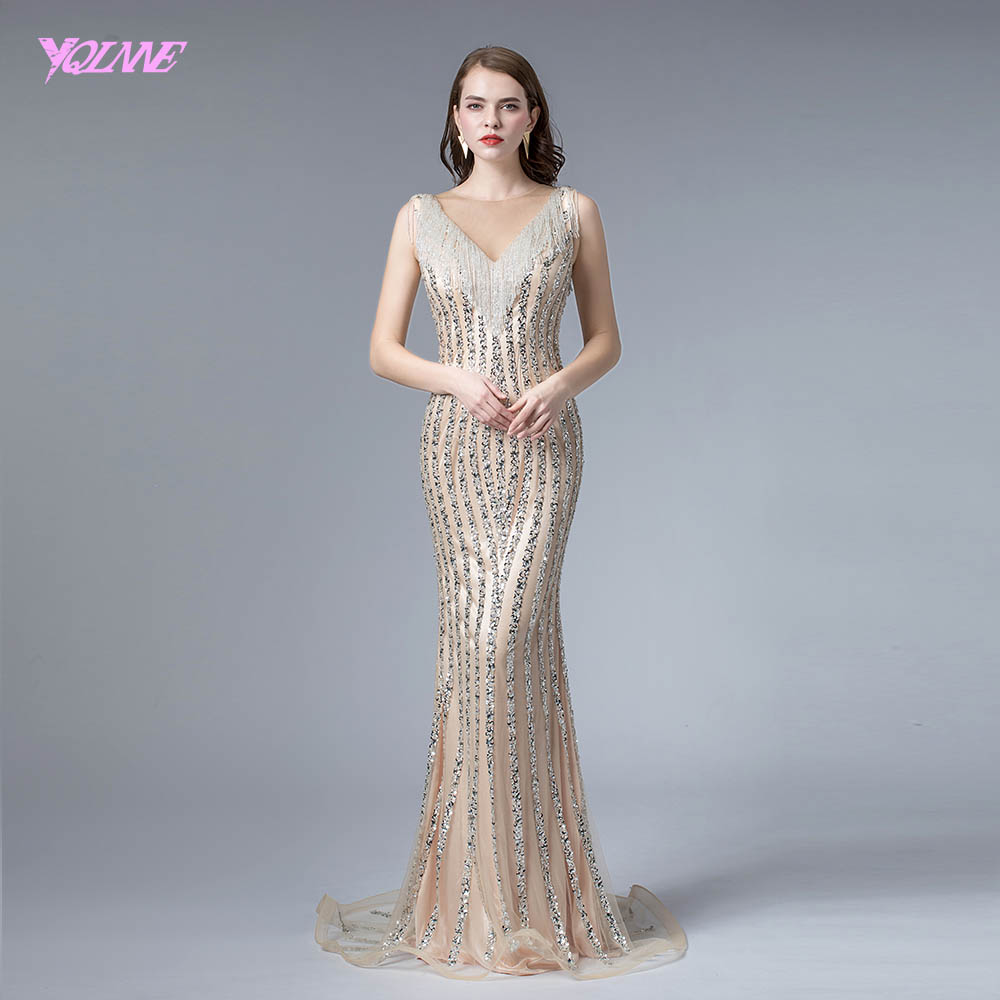 Stunning Champagne Crystals   Evening     Dress   Long Beaded Mermaid   Dresses   Sleeveless Formal   Evening   Gown YQLNNE