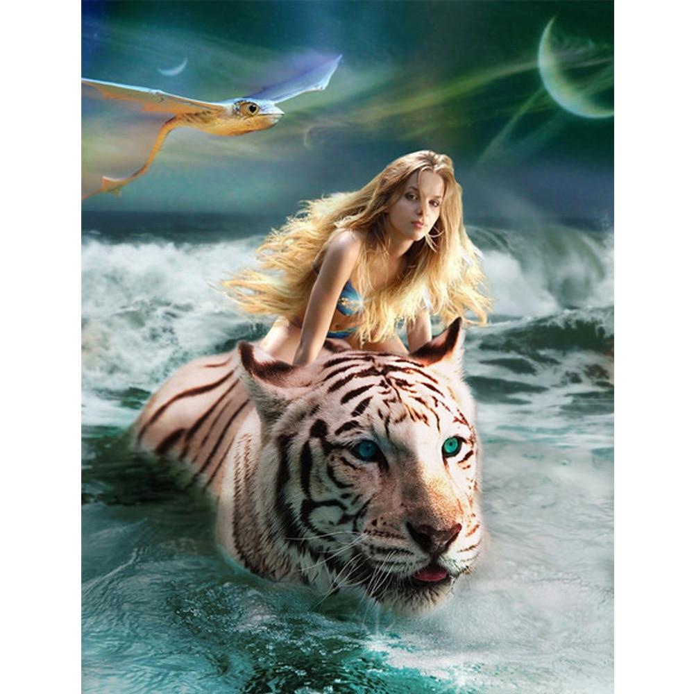 Diamond Painting Cross Stitch Diy Diamond Painting Cool Tiger With Blue Eyes Diamond Mosaic Paint Full Square Stones Animal Picture Decor Harmonious Colors