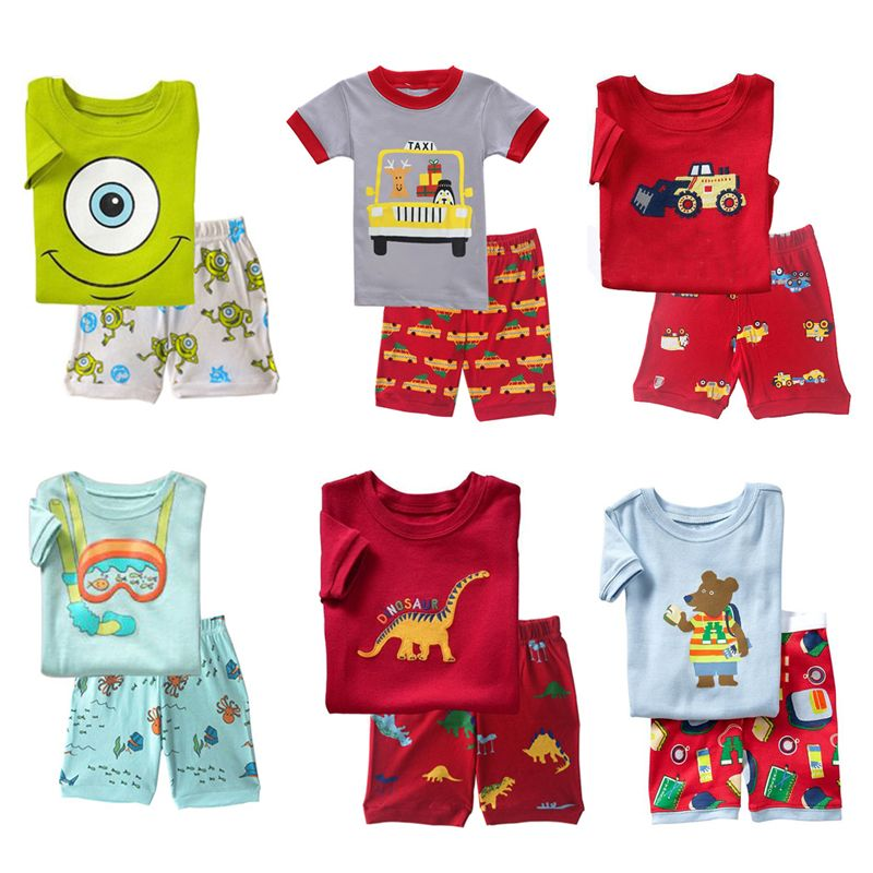 FANCYINN summer children kids pajamas short sleeve cotton girls boys clothes sets suits  ...