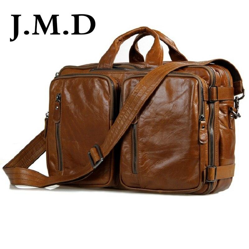 J.M.D 100% garantie sac de voyage en cuir véritable porte-documents sac à main pochette d'ordinateur sac à bandoulière Messenger pour hommes 7014