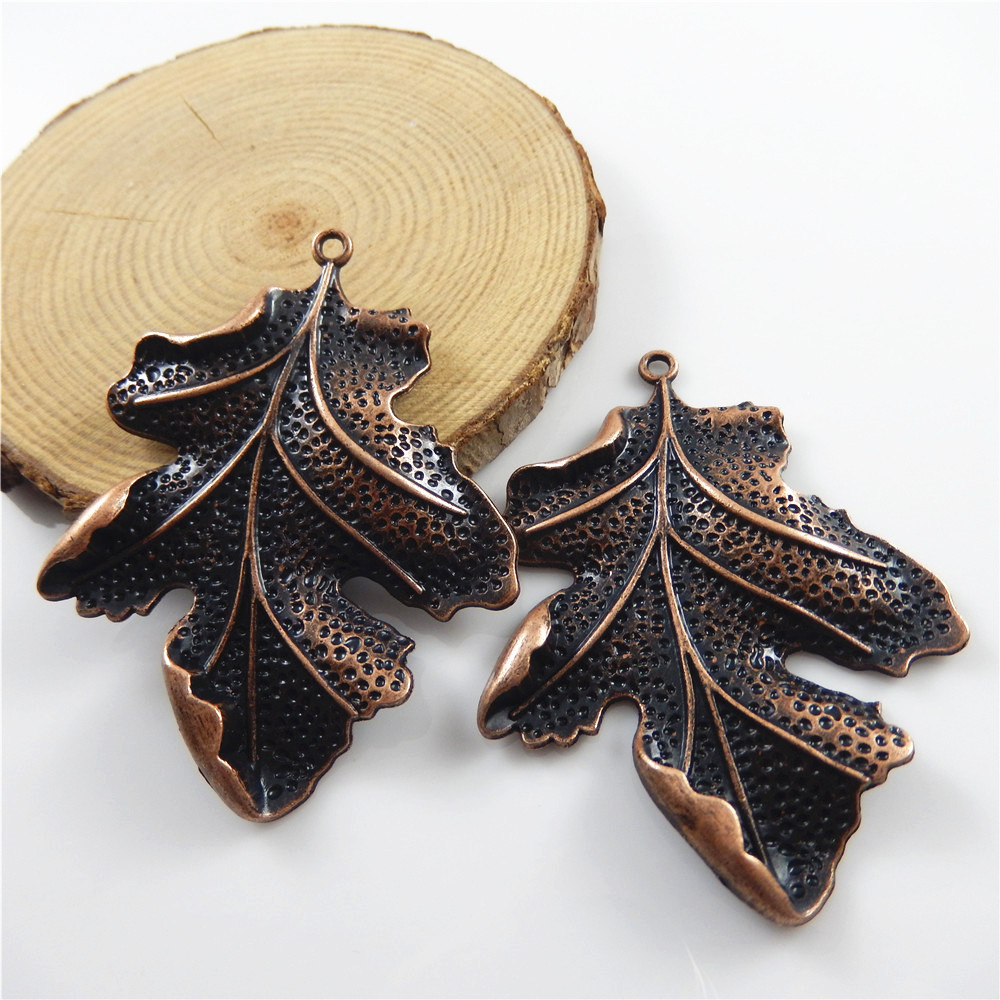 2pcs/lot Red Copper Vintage Leaves Shape Necklace Pendant Women Gift - Fashion Jewelry - Photo 5
