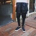 Nueva tendencia coreana de los hombres de las mujeres pantalones de la falda de moda de la calle de empalme fake 3 unidades pantalones masculinos harem pantalones pantalones casual pantalón K905