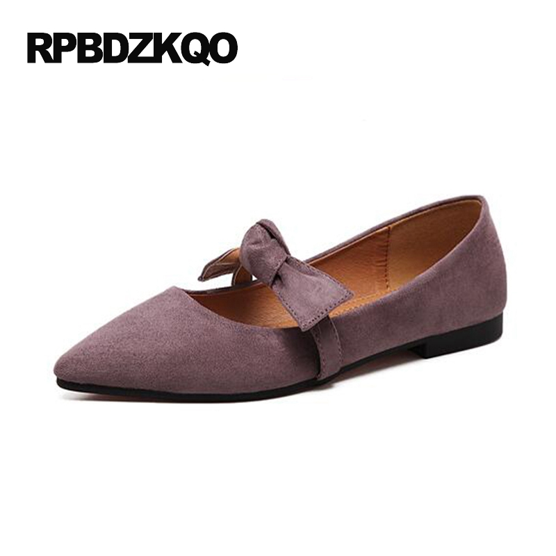 Women Dress Shoes Pointy Kawaii China Ladies Slip On 2017 Suede Bowtie Purple Bow Black Pointed Toe Flats Beautiful Drop lenar 254 tractor with engine nj385 the crankshaft with oil seals set part number