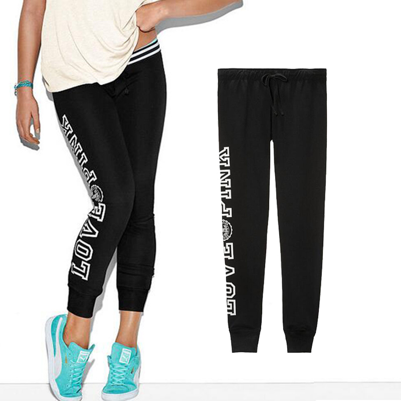 VS Pink Sport Pants Women Winter Black Casual Sweatpants Harajuku Streetwear Joggers Loose Harem Trousers High Waist Plus Size