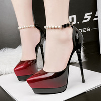 Fashion pointed nightclub waterproof platform high heel sexy word with fine with color matching beaded women's shoes.