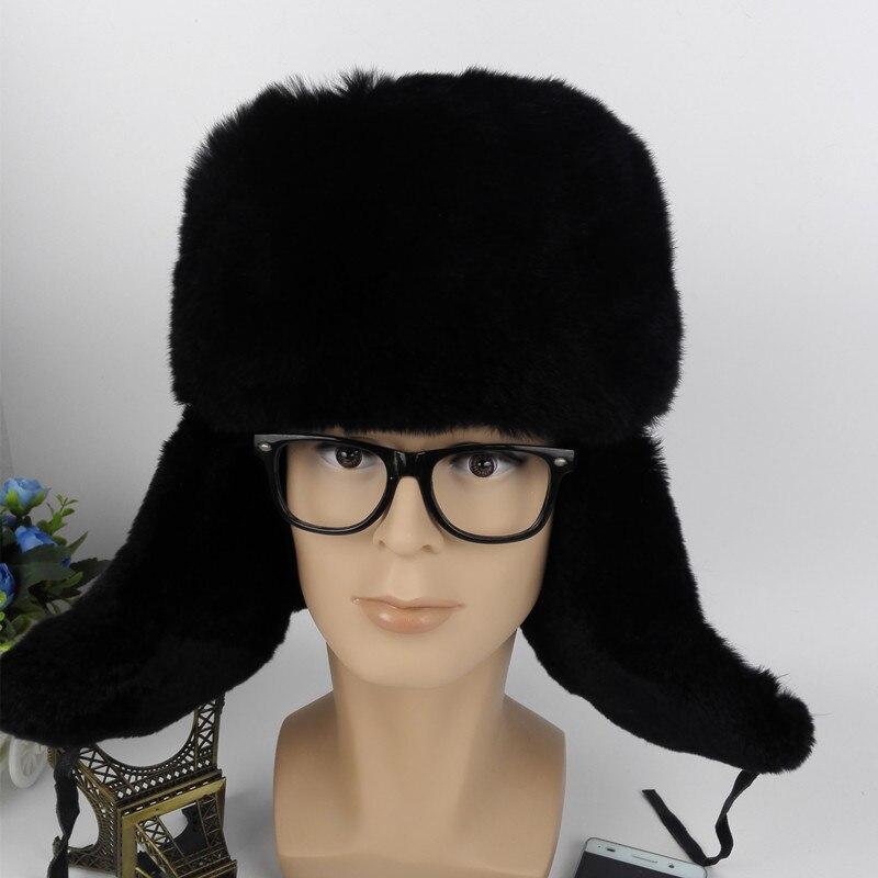 (TopFurMall)  Men Nature Real Rex Rabbit Fur Bomber Hats Leather Cover Winter Warm Caps Fashion Ear Protector Headgear LF4046