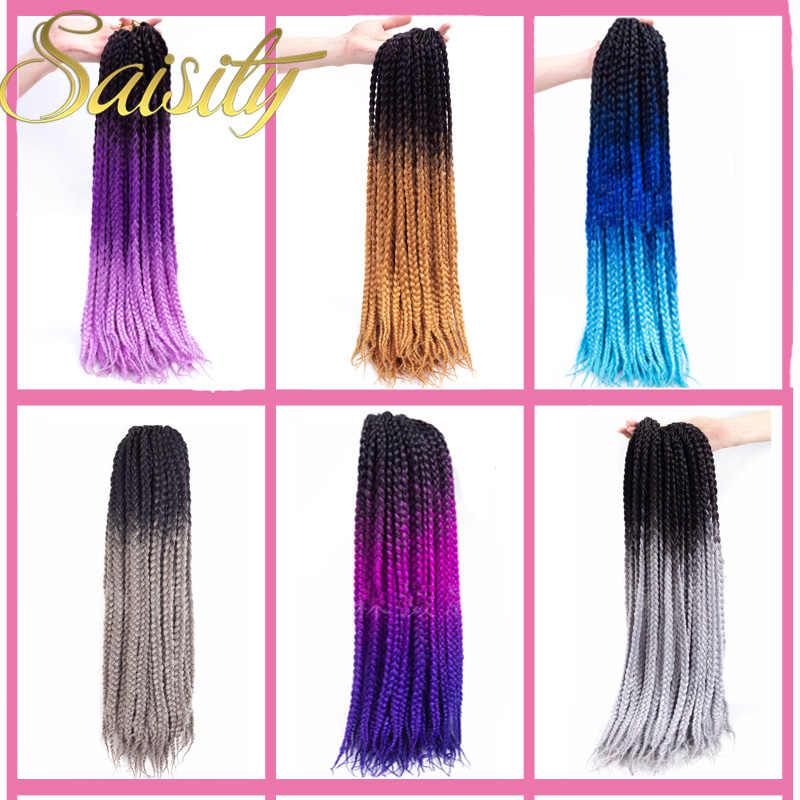 Saisity Box Braid Colors Grey Purple Blonde Blue Crotchet Braids Hair Extensions Synthetic Ombre Braiding Hair