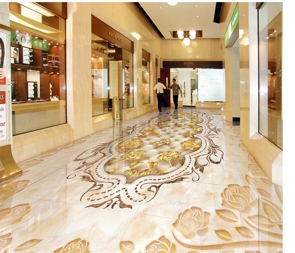 Marbled mosaic <font><b>tiled</b></font> floors Custom Photo self-adhesive 3D floor Custom Photo self-adhesive 3D floor PVC waterproof floor