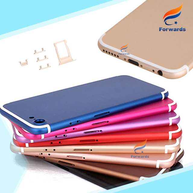 10pcs free DHL/EMS for iPhone 6s like 7 style Housing Metal Alloy Back Rear Cover Battery Door with buttons & sim card tray HOT!