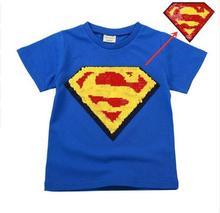 New Boy T-shirt Cotton Short Sleeve T-Shirt Round Collar Sequin Children Cartoon Childrens Wear Girls