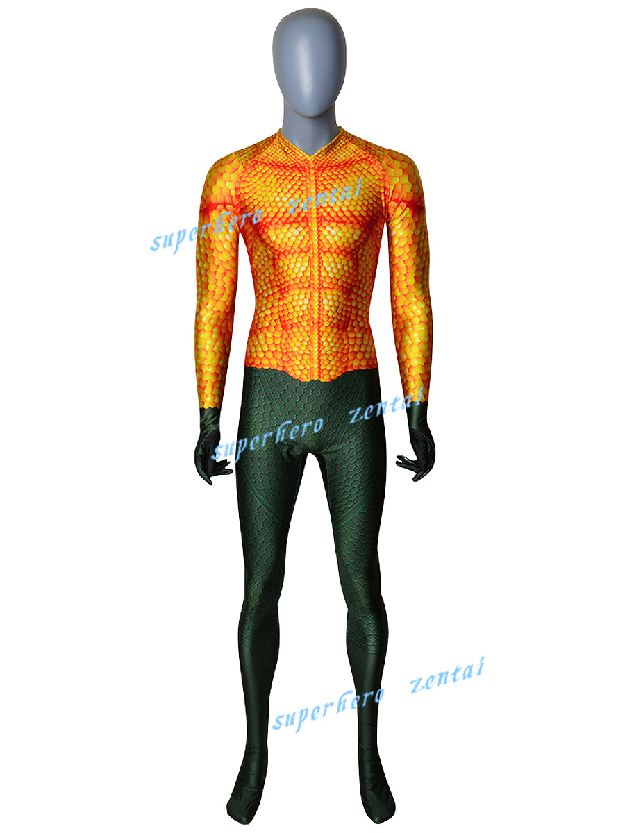 Newest Movie Aquaman Cosplay Costume Can custom made  3D Print Lycra Spandex Zentai Suit