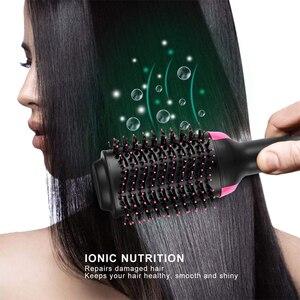 Image 5 - 1000 Вт профессиональный волос фен щетка 2 в 1 выпрямитель для волос щетка для завивки волос электрический фен с Расческа Щетка для волос ролик стайлер фен для волос фен щетка