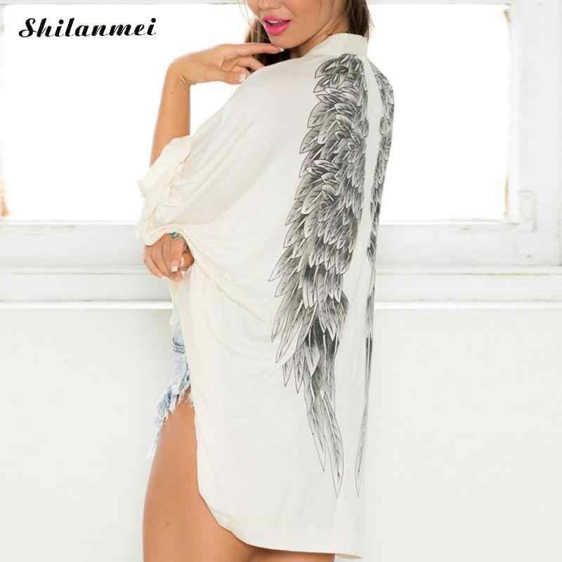 2018 가을 여성 카디건 긴 소매 캐주얼 백 천사 날개 인쇄 여성 자켓 배트윙 슬리브 캐주얼 루즈 여성 니트 스웨터