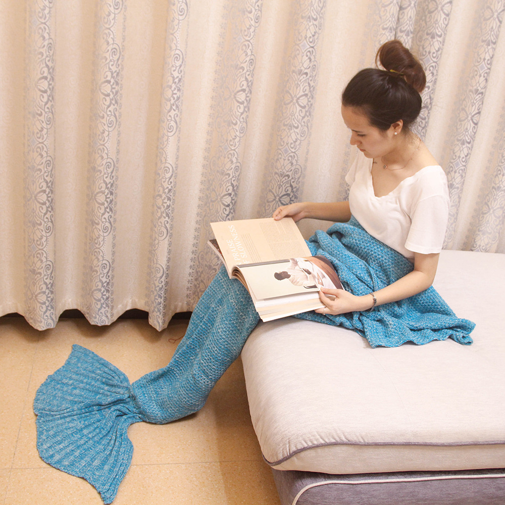Crochet Knitted Mermaid Tail Blanket For Adults Girls Large Fleece For Sleeping Bag Bed Sofa Quilt Plaid Acrylic Material