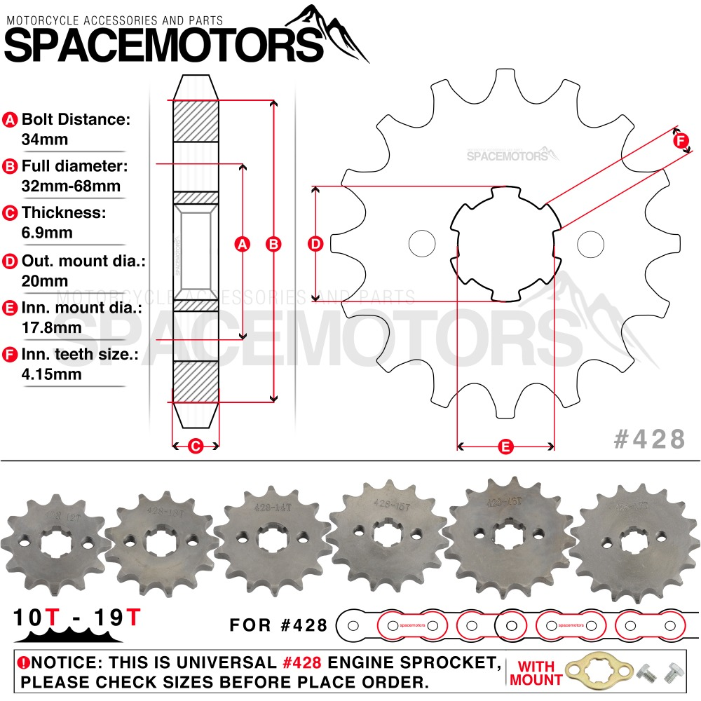 Crf 50 Engine Diagram Wiring Library Ssr 90 Quad 428 10t 19t 20mm Spline Front Sprocket Star Motorcycle Xr Ttr