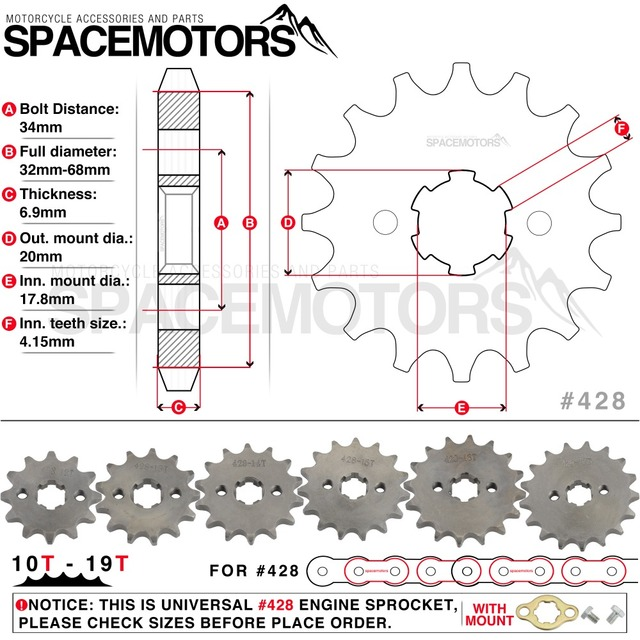 428 10t 19t 20mm Spline Front Engine Sprocket Star Motorcycle Crf Xr