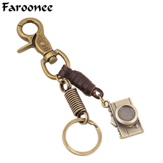 New Personalized Key Charm Camera Keychain Bag Vintage Special Mens Womens  Fun Key Chain Genuine Leather Sporty Jewelry 6C1438 884a1d3d46