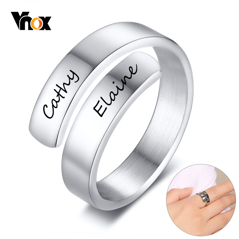 Vnox Personalized Ring Gifts Birthday-Graduation Stainless-Steel Custom Adjustable Silver