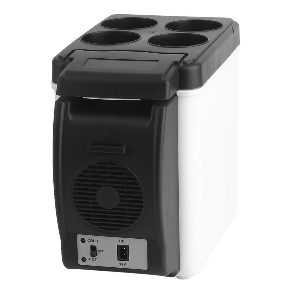 camping home Mini Size 12V Car Small Refrigerator Mini Fridge Cooler & Warmer Enough Capacity 6L White No Need for Refrigerant