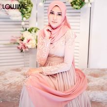 2015 Turkish Hijab Fashion Islamic Clothing Long Dress Long Sleeve Muslim Evening Dress Abaya Dubai Applique Lowime Dress