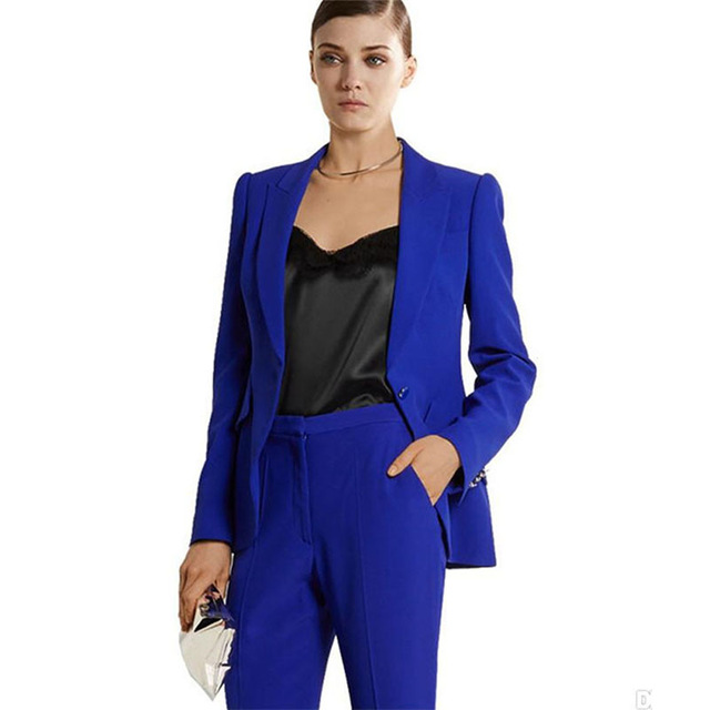 Fashion Pants Suit Womens Business Suits Blazer Royal Blue Female