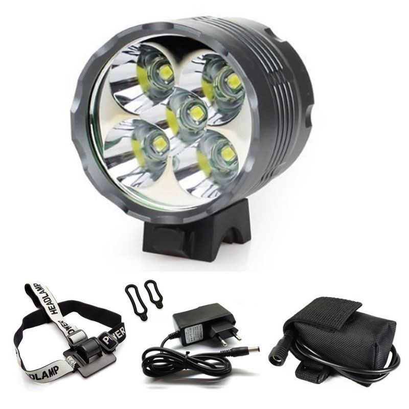 WasaFire Lantern 5*XML-T6 <font><b>Bicycle</b></font> <font><b>Light</b></font> Headlight <font><b>7000</b></font> <font><b>Lumen</b></font> LED Bike <font><b>Light</b></font> Lamp Headlamp + 8.4V Charger + 9600mAh Battery Pack image