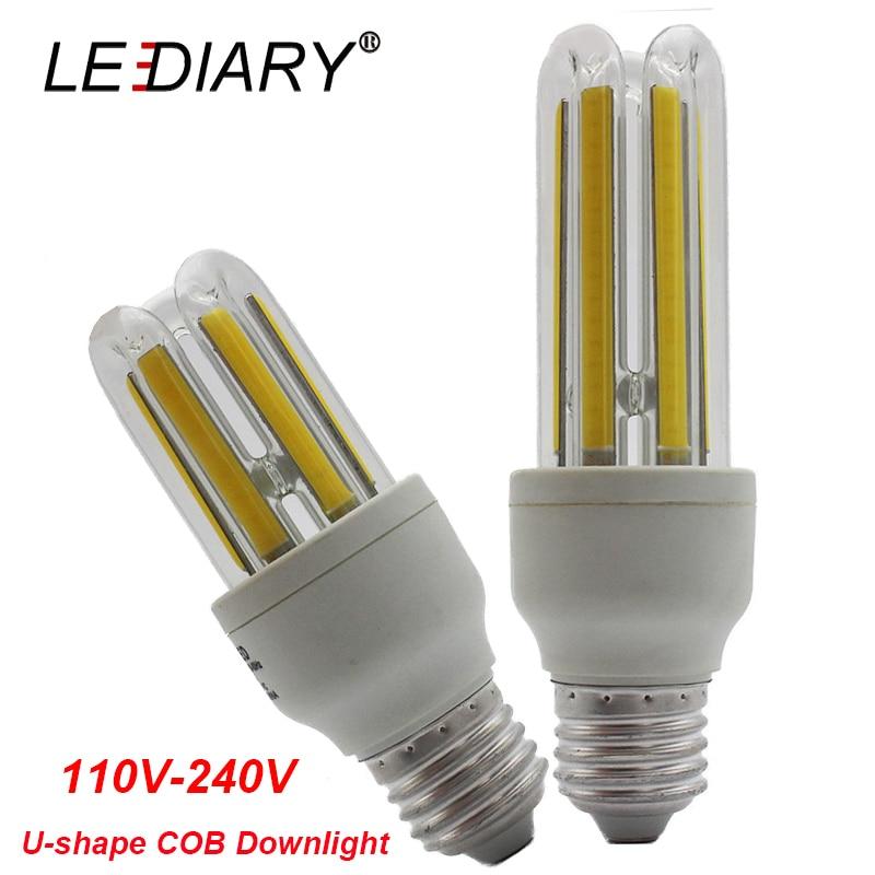 LEDIARY Super Bright U-shape E27 LED Corn Bulb 110V-240V Real 5W/9W Bombillas LED E27 COB Lamp 2U Energy Saving 3500K/6500K цены