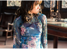 blue Vietnam ao dai Chinese traditional dress chinese dress qipao long Chinese cheongsam dress robe chinoise modern cheongsam