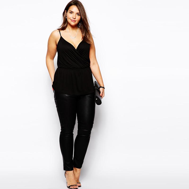 02 Women Camis Tops Slip top Plus Size XXXL 5xl 6xl 4xl V neck Black purple (2)