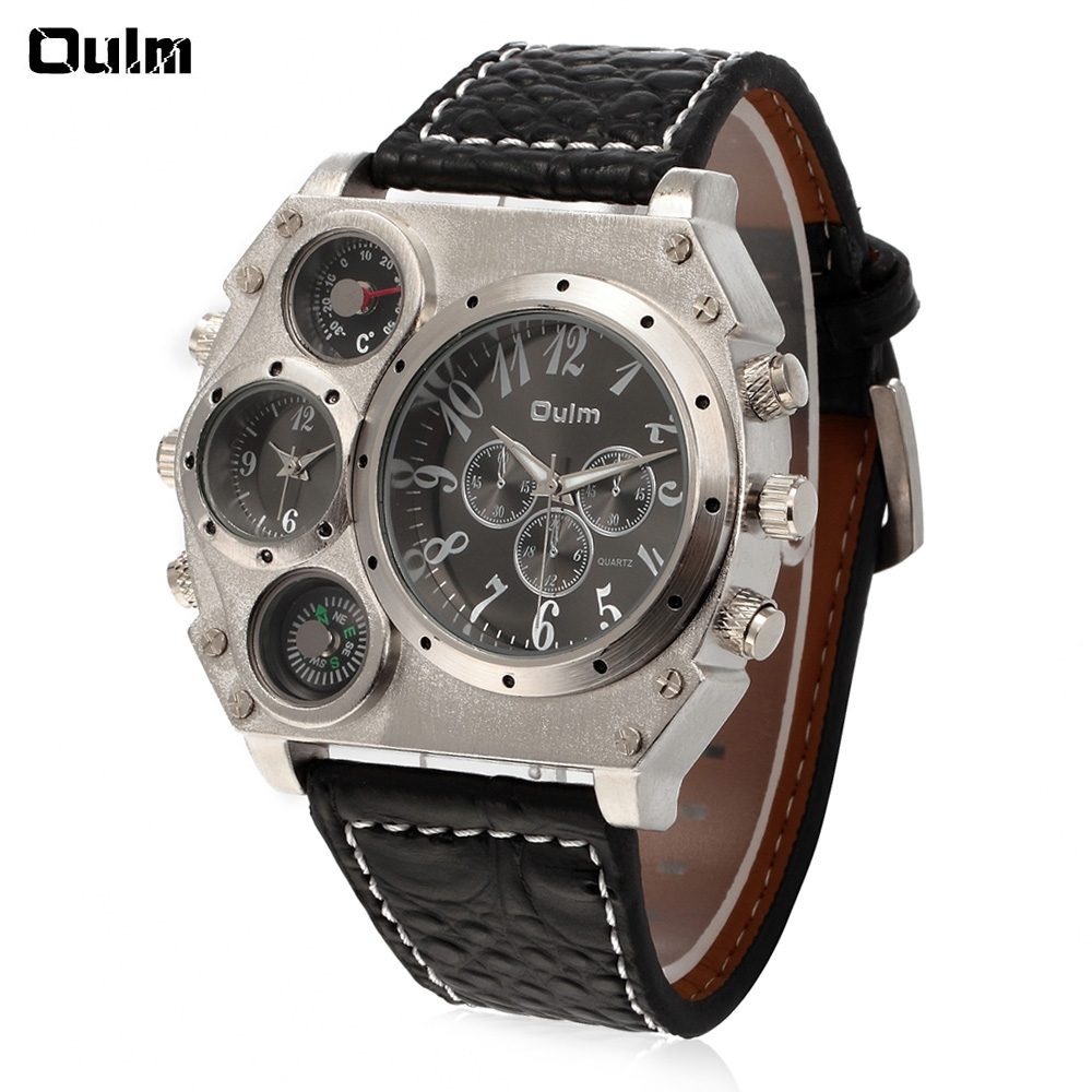 купить Oulm Quartz Watch with Two Time Square White Dial Black Leather Watchband for Men недорого
