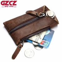 GZCZ Genuine Leather Men Wallet Zipper Design Housekeeper Key Pouch Ring Wrap Holder Keychain Vintage Style Mini Walet Purse