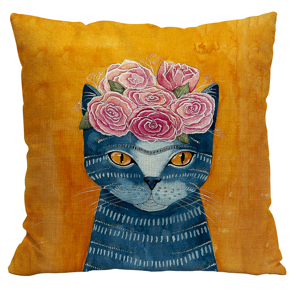 BV01008 Cat Art Throw Pillowcase Linen Cushion Cover for Sofa Couch