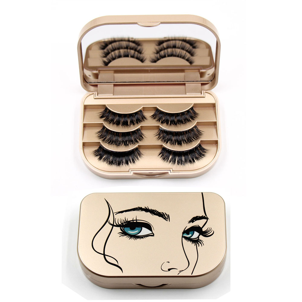LEHUAMAO Mirror Gold Box Sexy Handmade 3D Mink Hair Beauty Thick Long - Makeup