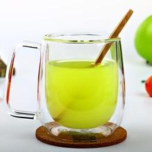Doppelwandglasbecher Transparent Teetasse mit Griff Hohe Qualität Glas Tasse Tee Milch Kaffee hitzebeständige Trinkbecher