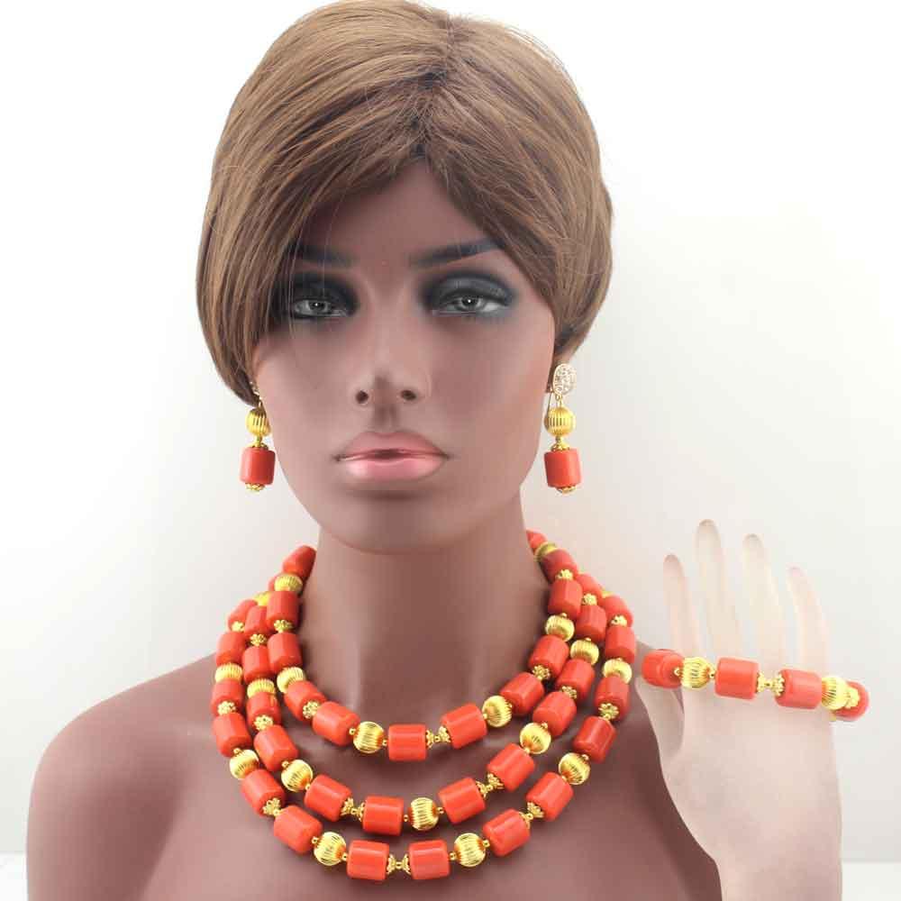 Classic Nigerian Wedding African Orange Coral Beads Jewelry Set Costume Jewelry Sets Free Shipping HD8430Classic Nigerian Wedding African Orange Coral Beads Jewelry Set Costume Jewelry Sets Free Shipping HD8430