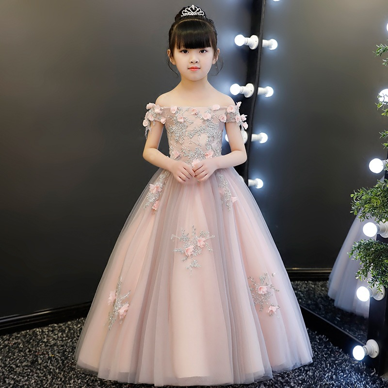Beading Appliques Flower Girl Dresses for Wedding Off the Shoulder Holy Communion Dress Long Ball Gown Princess Prom Dress B254 купить в Москве 2019