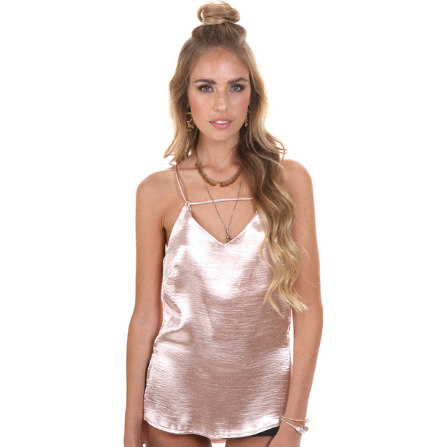 2016 Woman Sexy V Neck Back Cross Metallic Silk Satin Camis Sleepwear Style Tank Top Summer Evening Party Short Blouse Shirt