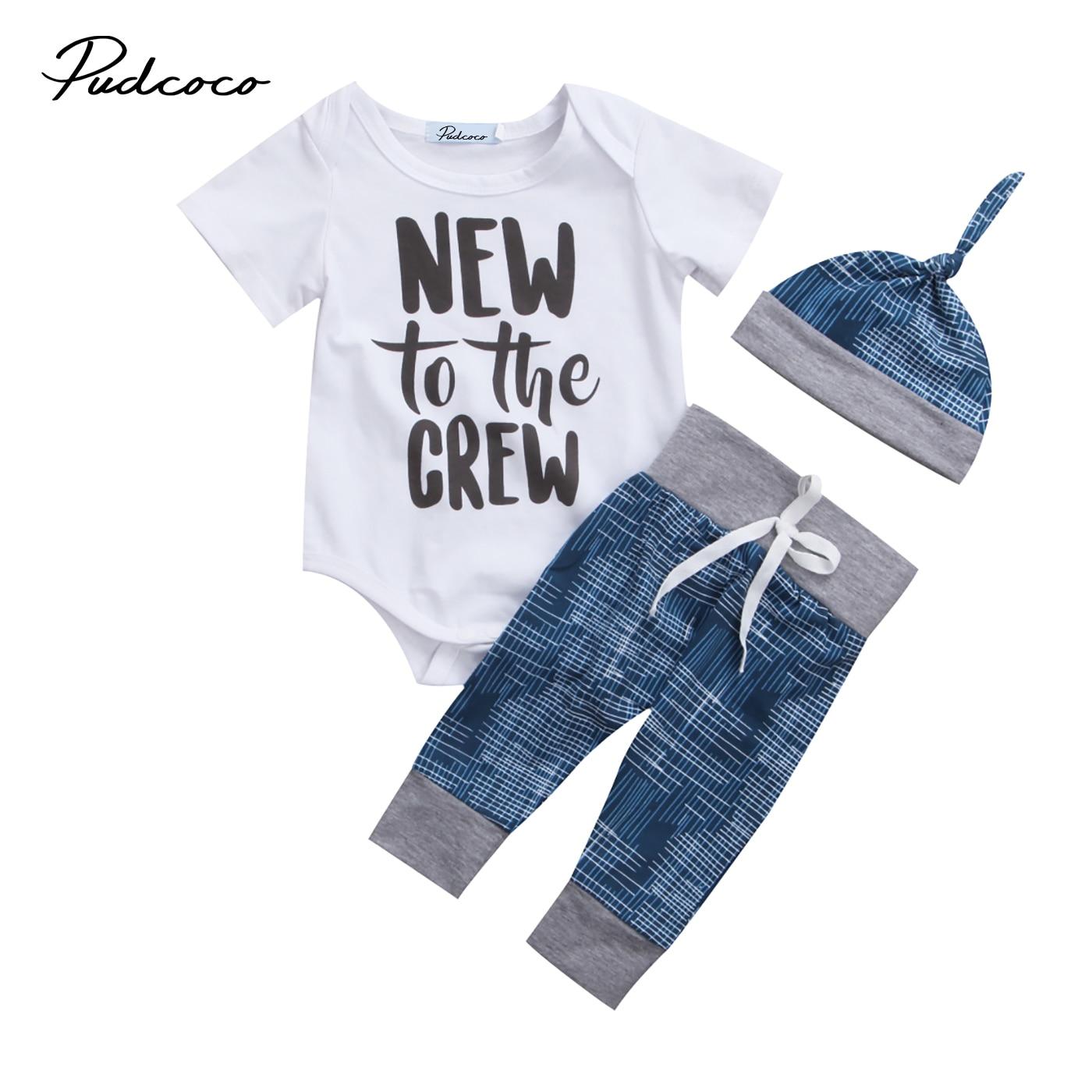 Newborn Baby Boys Girls 3PCS Clothing Set Clothes Babies Letters Bodysuit +Long Pants +Hat Outfit Festivel Clothes