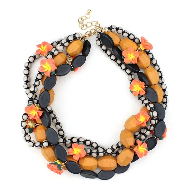 2014 new design high quality women ZA jewelry necklace wood flower woven beads statement necklaces