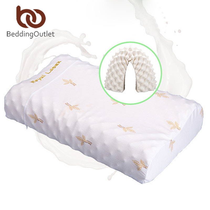 BeddingOutlet Thailand Natural Latex Bedding Bedroom Pillow Cervical Orthopedic Natural Foam Pillow Neck Health 60x35x11/13cm 2017 home sleep orthopedic neck support fiber slow rebound memory foam pillow cervical health care orthopedic latex foam pillow