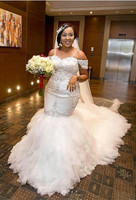 African Plus Size Wedding Dresses Spaghetti Straps Lace Appliques Beadding Capped Mermaid Wedding Dress Tiered Tulle Long Bridal