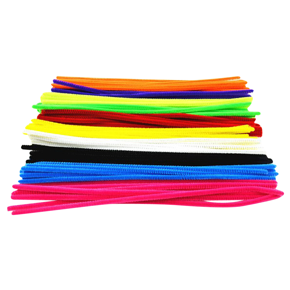 100pcs Montessori Materials Chenille Children Plush Educational font b Toy b font Crafts Colorful Pipe Cleaner