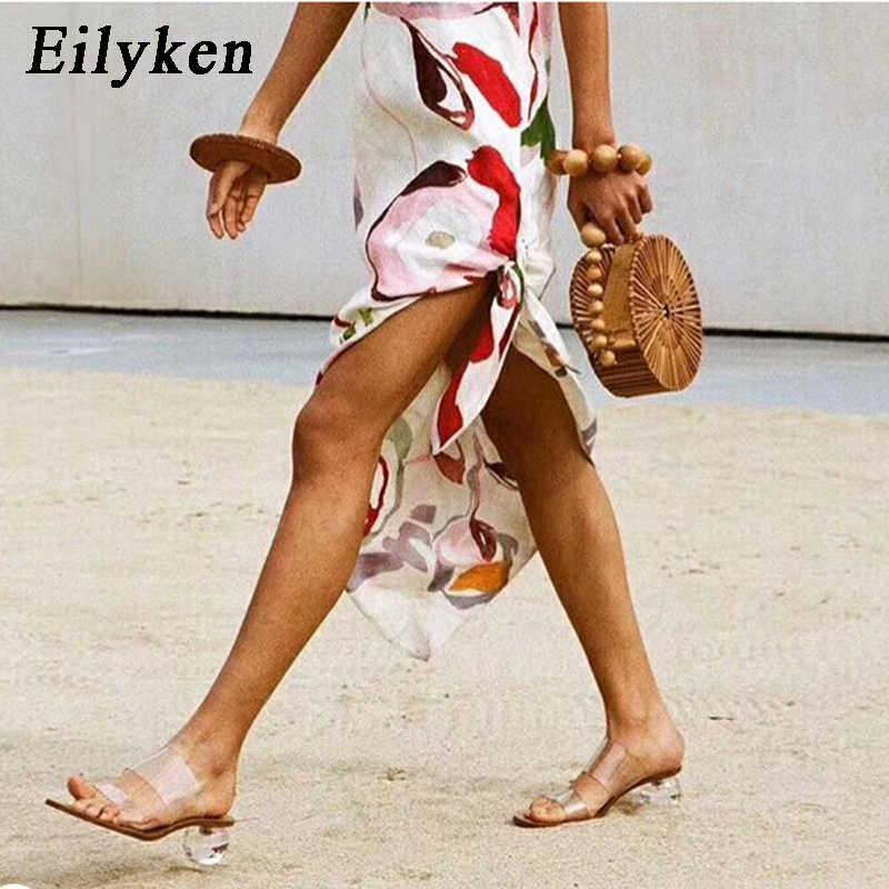 Eilyken 2020New kadın terlik yaz kristal topuk kadın plaj terlikleri şeffaf PVC sandalet kare ayak slaytlar boy 41 42 43
