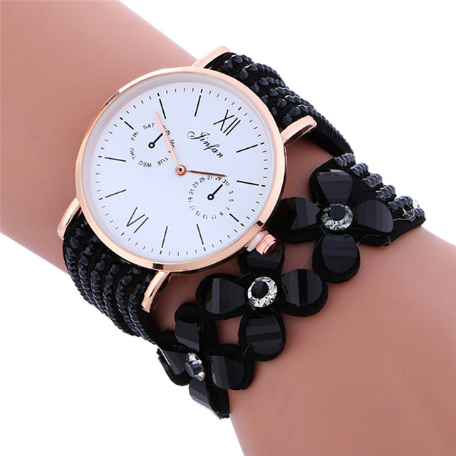 2018 New Luxury Women Watches dress Fashion Large Dial Chimes Diamond Leather Br
